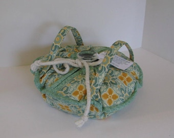 Casserole Carrier , Round or Square Dish , Green and Gold Tiles , Food Carrier , Insulated , Hot or Cold Foods , Bridal Gift