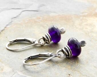 Purple Birthstone Earrings - Amethyst Earrings - February Birthstone - Sterling Silver - Gemstone Earrings - Lever Back or Hook - #4592