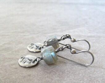labradorite earrings, gemstone earrings, blue green stone earrings,  oxidized sterling silver, rustic gemstone earrings