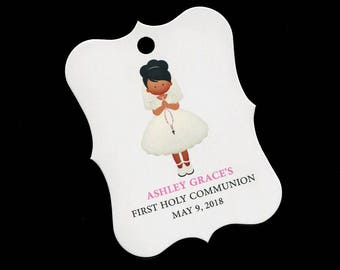 20 Personalized Communion Favor Tags - First Communion Tags - First Holy Communion Favor Tags - Girls Communion Tags - Dark Skin