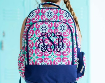 Girls Monogram Backpack Floral Tile School Personalized, Mia