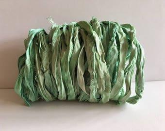 Silk Sari Ribbon-Seafoam Green Sari Ribbon-10 Yards
