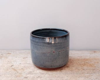 Blue Cup with Red Glaze Detail