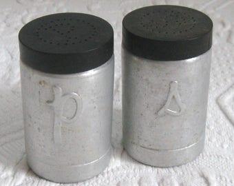 retro salt and pepper . aluminum salt and pepper . tin salt and pepper . Salt and Pepper Shaker . made in Italy