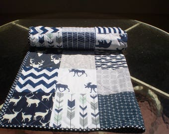 Baby quilt, crib quilt, crib bedding, baby bedding quilt, woodland, arrow, rustic, grey, navy, moose, deer, bear, toddler, Woodsy Silhouette