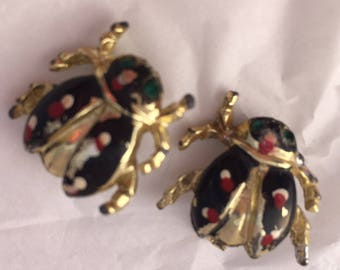 Adorable set of the black and red beetle ladybug scatter pin brooches green emerald rhinestone eyes