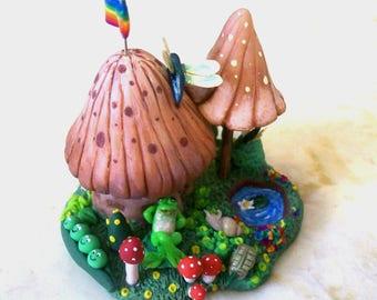 Shroom Garden Whimsy Hut Miniature Fantasy Faerie Mushroom House Micro Tiny Creatures Original Design Artisan Sculpted Collectible