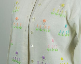 Vintage 1960s Cardigan Sweater White Orlon Acrylic Embroidered with Rosettes Sz 36