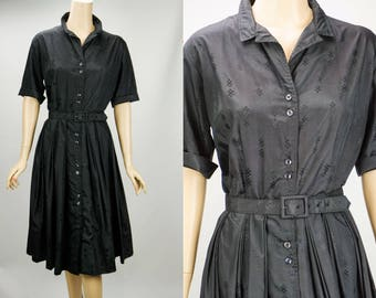 1960s Vintage Dress Black Patterned Cotton Shirtwaist by Jane Bradley VOLUP B44 W31