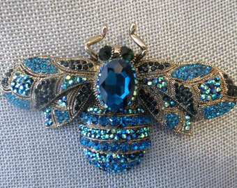 Bee Brooch, crystal bee brooch, large bee brooch