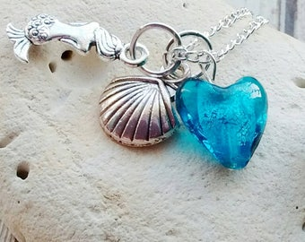 Mermaid Necklace, Heart Necklace, Sea Jewellery, Under the Sea, Beach Jewellery, Shell Necklace, Ocean Jewellery, Sea Necklace, Sea Jewelry