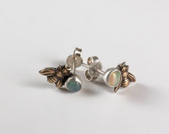 Opal Earring Studs - Silver Bee Earrings - Honeybee Earrings - Bee Jewelry - Gemstone and Bee - Bee Gift - October Birthstone - Gem Studs