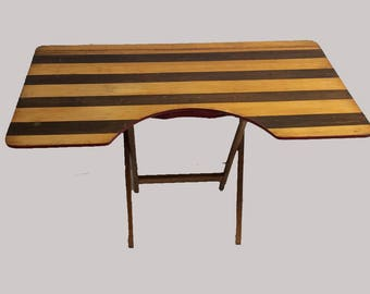 Raw Distressed Striped Wood Vintage Folding Desk Table Assemblage Portable