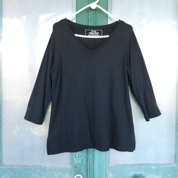FLAX Engelhart Flax-In-Motion 3/4 Sleeve V-Neck Tee -L- Black Rayon/Spandex