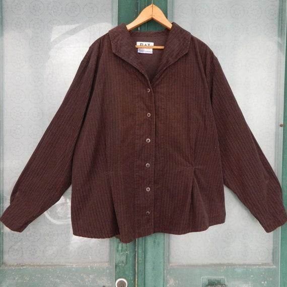 FLAX Engelhart Autumn 2006 Short & Sweet Blouse -2G/2X- Java Brown Cotton Corduroy