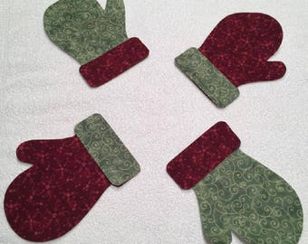 Set of 4 Green and Red Mitten Appliques