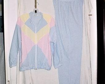 Vintage 80s 2 pc Suit L Stripe Ladies Zip Up Jacket Pants Seersucker Blue Pink Yellow