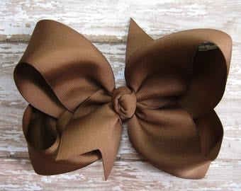 Large 6 inch Size Grosgrain Hair Bow in Brown Big Girls Boutique Style Hairbow