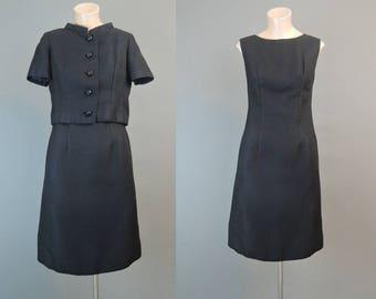 Vintage Black Shift Dress & Jacket 32 bust, 1960s Black Rhinestone Buttons