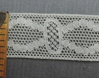 2-3/8 Yards Lace Antique 1900s, 1 inch wide ivory cotton Vintage Trim Edwardian