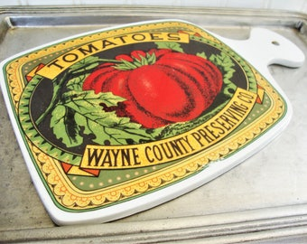 vintage tomatoes cutting board wayne county preserving company