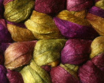 Polwarth Tussah Silk Spinning Fiber - 'Peony'