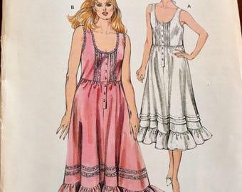 Vintage Kwik Sew 1521 Sleeveless Nightgown Pattern, Uncut, Size XS to L