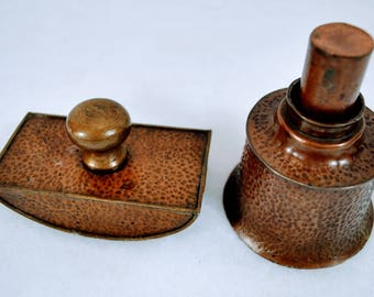 Arts & Crafts Hammered Copper and Brass Inkwell and Blotter - Antique Vintage Chinese