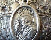 CLEARANCE SALE Italian Religious Miraculous Medal Padre Pio Of Pietrelcina Pray For Us, Sacred Gifts Of Stigmata & Bilocation Patron Saint O
