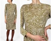 Wild Vintage 1970s Olive Graphic Geometric Zebra Shift Dress by Wilroy | Small