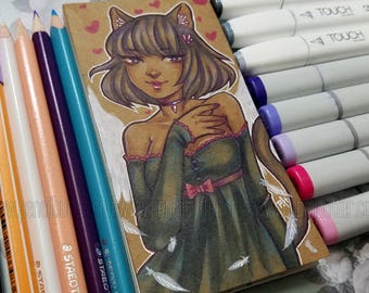One of a Kind Mini Notebook - Cat Angel