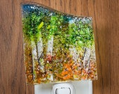 Fused Glass Nightlight - BluDragonfly SRA - Spring Scene - Nightlight