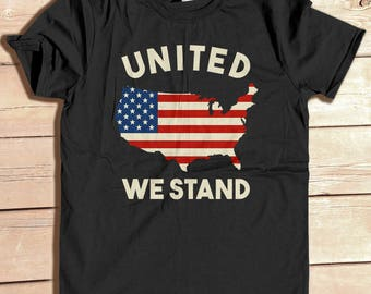 United We Stand, Patriotic tshirt, 4th of July Shirt,Jjuly 4th shirt, United States Map shirt, Map of United States, USA shirt, USA flag