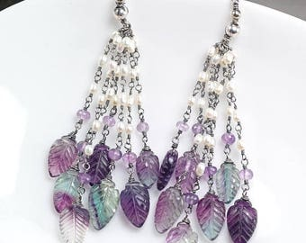 Summer SALE Fluorite earrings, Purple Green earrings, Leaf earrings, Fresh water pearls Amethyst oxidised 925 silver Earrings ... NIGHTSHADE