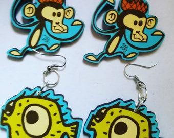 Tiki Tony, Puffer fish, Puffer fish jewelry, Monkey, Monkey earrings, Handmade, Tiki Oasis, Tiki luau, Tiki bar