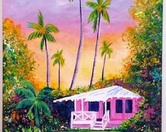 hawaiian cottage whimsical pink house original acrylic paintings wall art girls room decor kauai maui oahu hawaii tropical cottages
