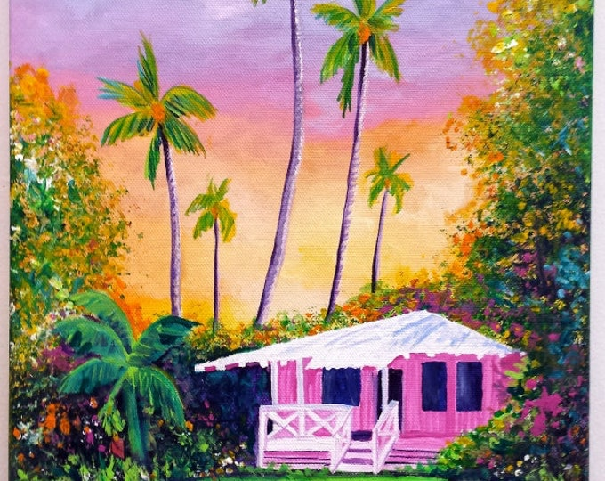 hawaiian cottage whimsical pink house original acrylic paintings wall art girls room decor kauai maui oahu hawaii tropical cottages