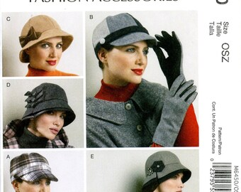 McCall's M6450 Accessories Hats Gloves Newsboy Cloche Baseball Bucket Uncut Sewing Pattern 2011