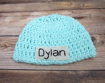 Baby Name Hat, Personalized Baby Hats, Baby Boy Coming Home Hat, Newborn Hospital Hat, Preemie Baby Hat, Blue Monogram Baby Boy Hat,
