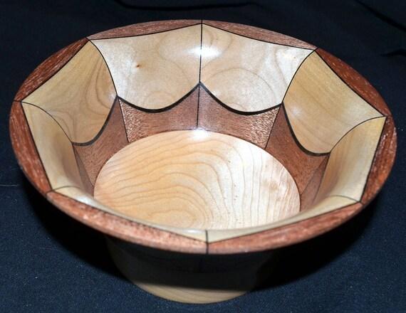 """Segmented Woodturning Wood Turned Bowl – """"Balance"""" – Birch, Mahogany and Maple"""