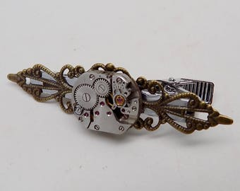 Steampunk jewelry tie tack  gear.