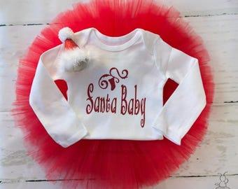 Christmas Outfit Girl, Christmas Tutu, First Christmas Outfit, Santa Baby Outfit, Christmas Gift for Girl, Christmas Dress Set, Santa Hat