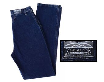 "vintage ROCKY MOUNTAIN jeans // high waist western jeans // indigo denim // made in Mexico // 28"" X  34"""
