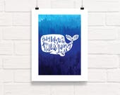 Baby Beluga Whale Print // Nursery Wall Art Decor, Butterfly, Baby Shower Gift, Nautical Nursery