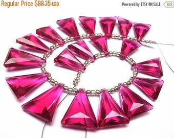 Sale 45% off Wholesale - Super Finest AAA Rubelite Hot Pink Quartz Faceted Elongated Trillion Briolettes Size 19x13mm - 15x11mm approx, 8 In