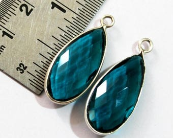 50% Off Sale 1 Pc 32x13 mm Teal Blue Quartz Bezel Set Pear Gemstone Pendant, Gemstone Charm, Connector, Single or Double Loop Pendant BSP06