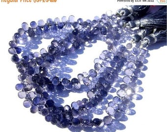 50% Off Sale Full 8 Inches - Finest Quality Genuine Iolite Faceted Tear drop Briolettes W/75 Pcs Size 6 - 7mm Approx Natural Stone Wholesale