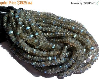 50% Off Sale 10 Inches 5.5mm-6.5mm Finest Quality Blue Flashy Natural Labradorite Micro Faceted Rondelle Beads Wholesale Price