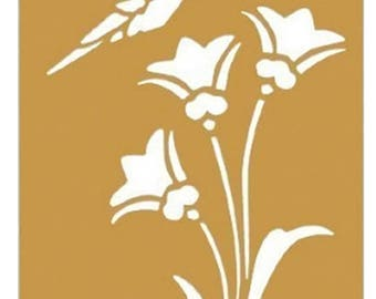 Humming Bird on Flowers - Brass Stencil - 3 1/4 x 2 1/4 1195-70 fnt