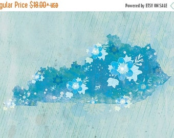 50% Off Summer Sale - Kentucky State Print - Tulip Poplar Print - Kentucky State Art - Kentucky Blue Modern